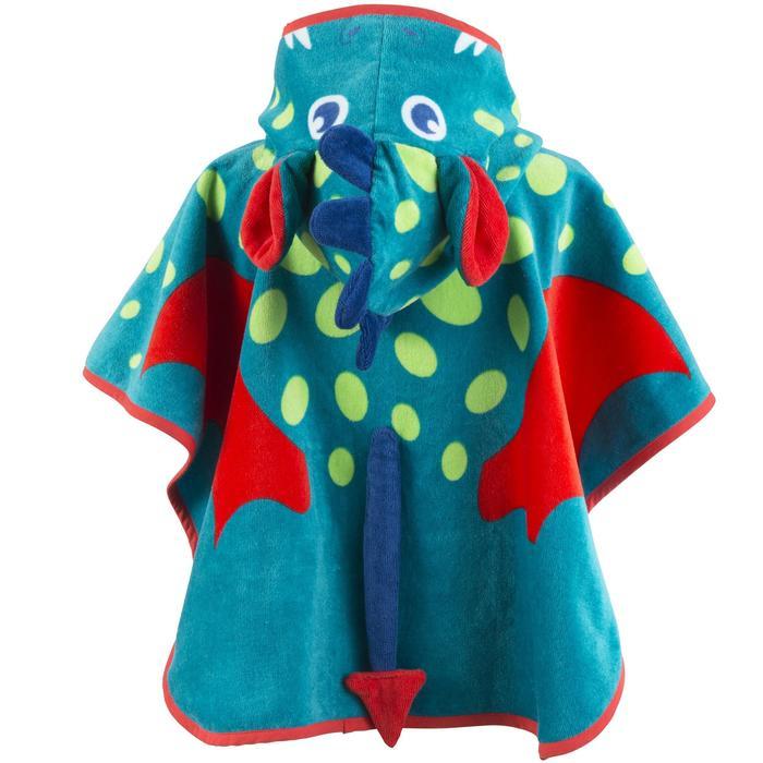 Peuterponcho met capuchon blauw/groen met drakenopdruk
