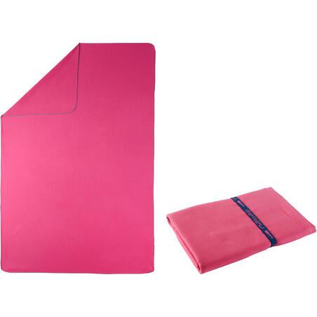 Toalla de microfibra rosa ultra compacta talla XG 110 x 175 cm