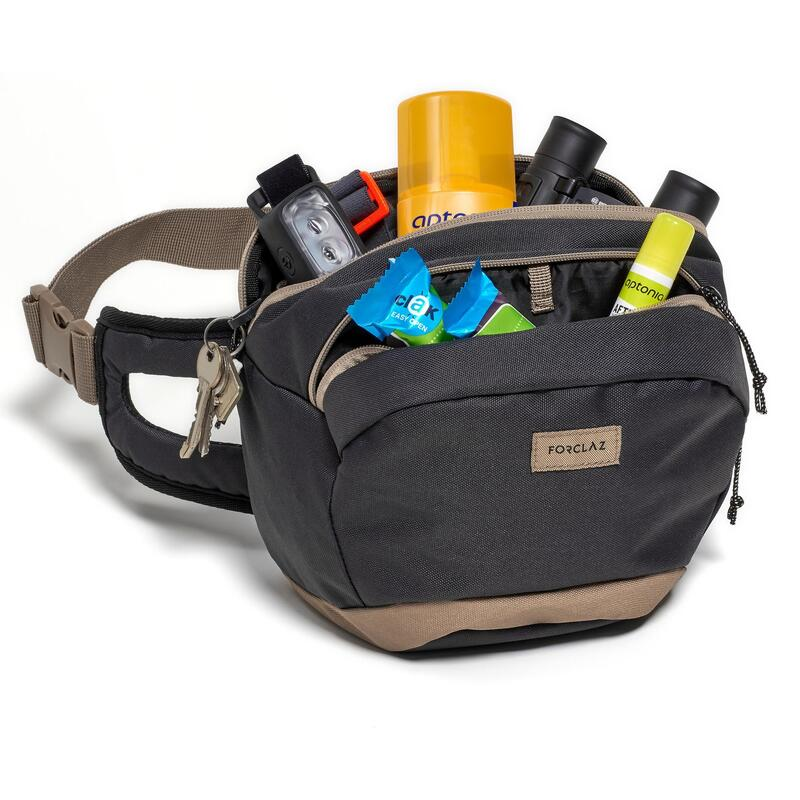 Bolsa riñonera 5L de trekking viaje / TRAVEL - marrón negro