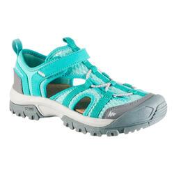 兒童款健行運動涼鞋MH150-淺碧藍色