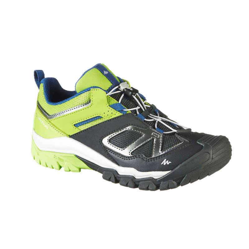 SHOES BOY Hiking - Crossrock Kids Walking Shoes - Lime/Black  QUECHUA - Outdoor Shoes