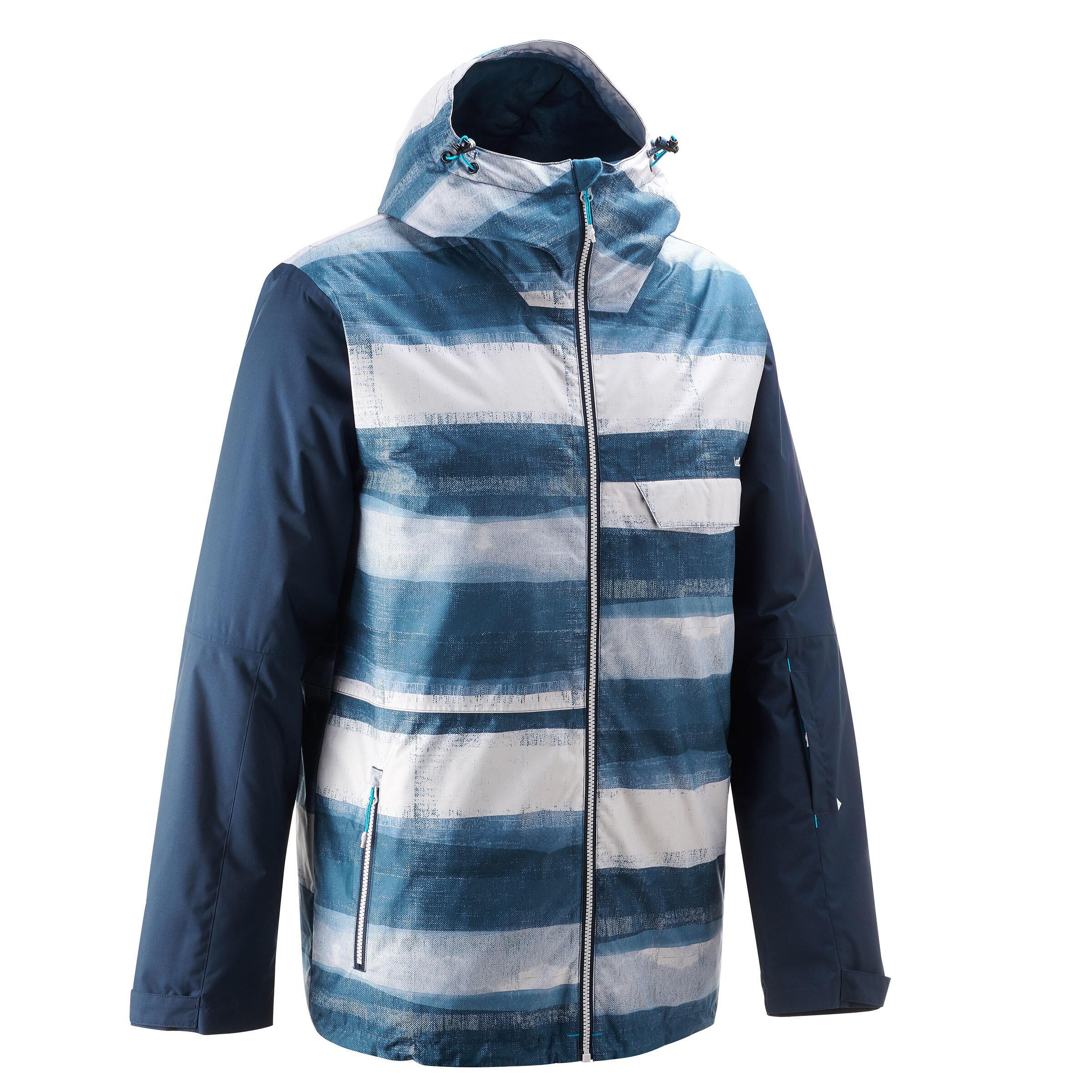 Manteau de planche à neige et de ski homme SNB JKT 100 imprimé bleu