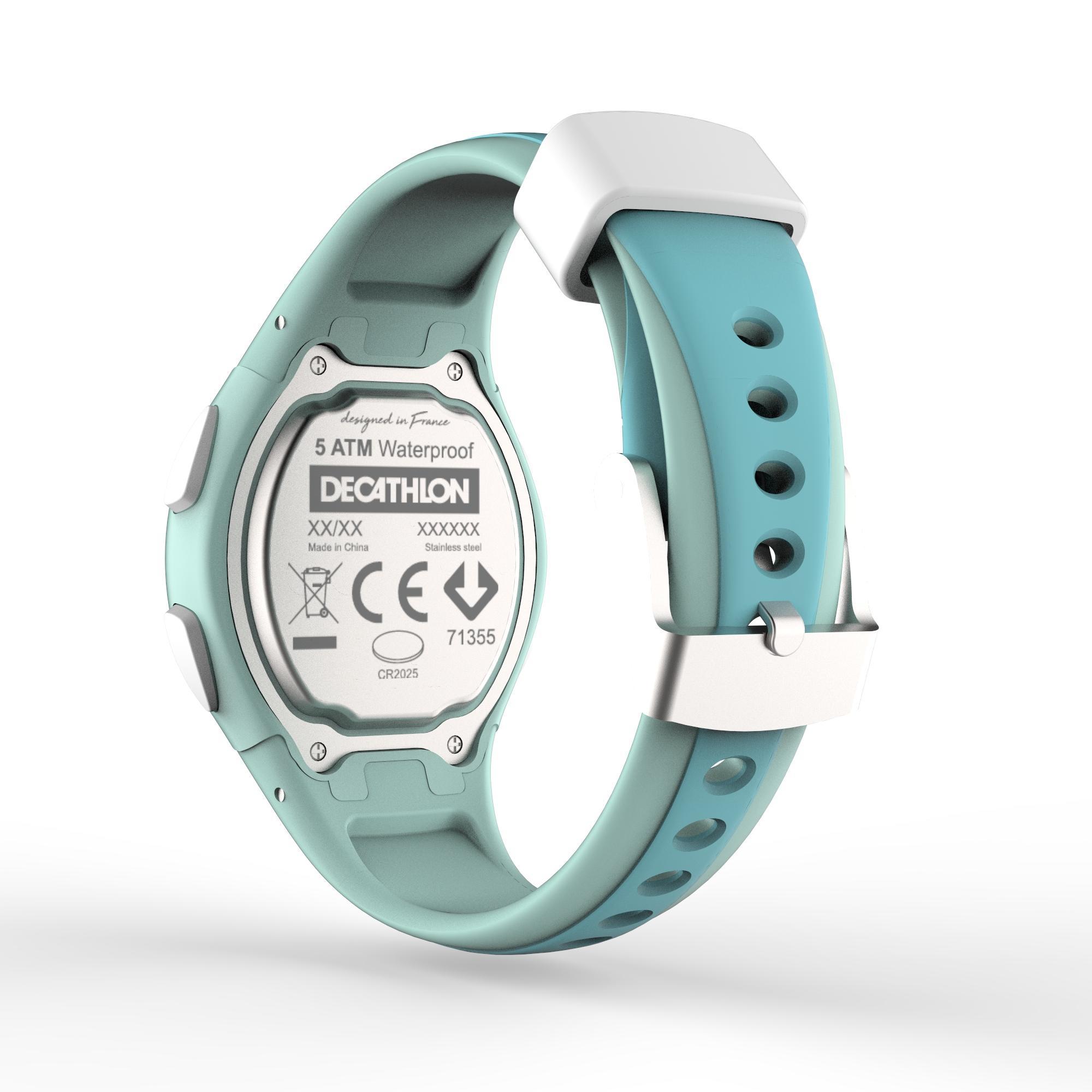 Montre chronomètre de course à pied femme et junior W200 S VERT PASTEL