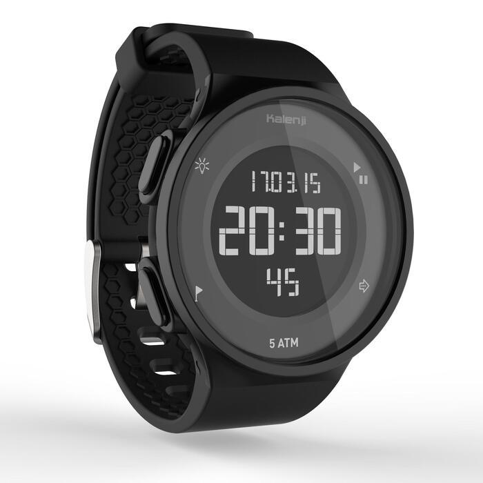 Montre chronomètre de course à pied homme W500 M noire reverse - 1328170