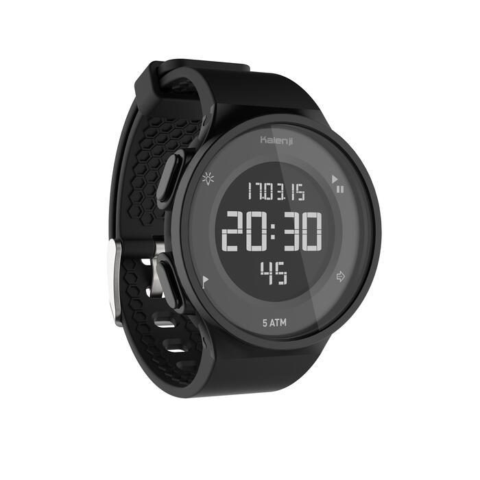 Montre chronomètre de course à pied homme W500 M noire reverse - 1328178