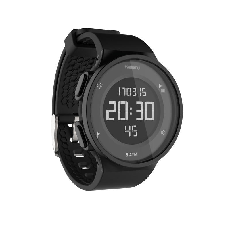 W500 M men's running stopwatch reverse screen - Black