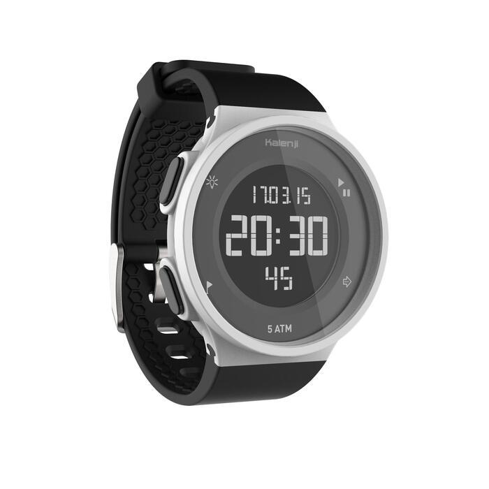 Montre chronomètre de course à pied homme W500 M noire reverse - 1328179