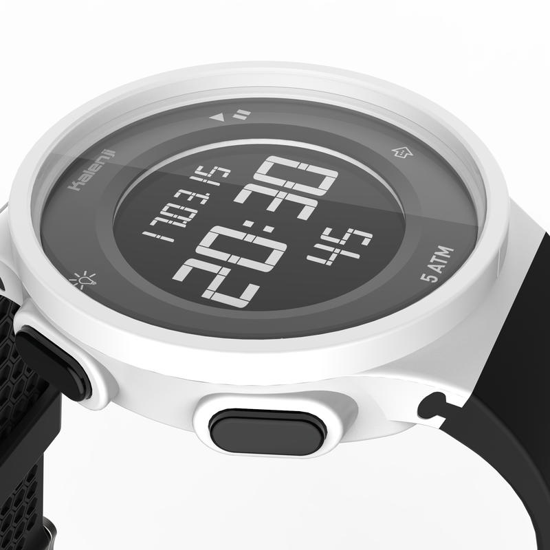 W500 M men's running stopwatch white reversed screen