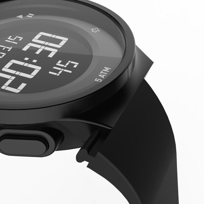 Montre chronomètre de course à pied homme W500 M noire reverse - 1328185