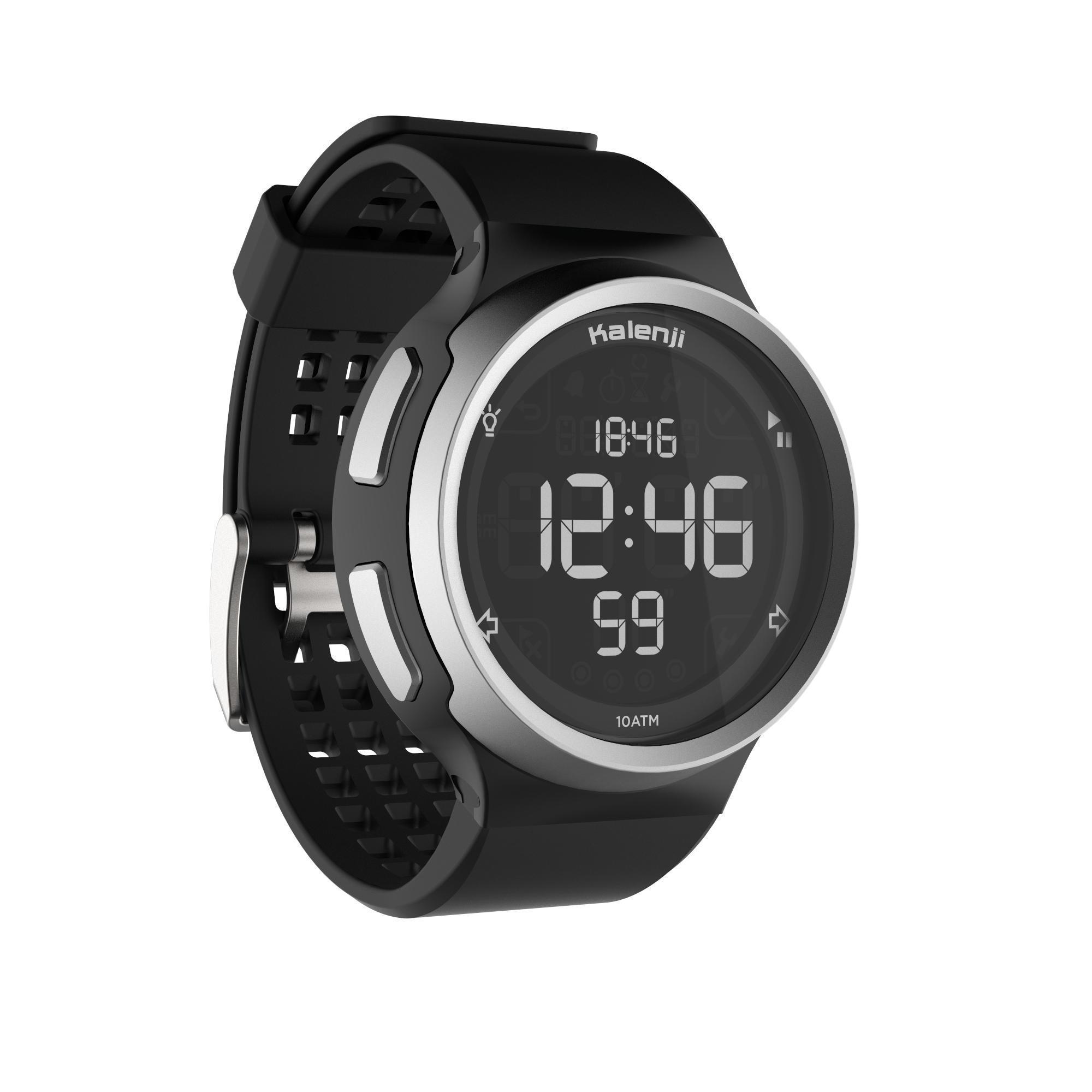 Kalenji Loophorloge met stopwatch heren W900 M zwart reverse