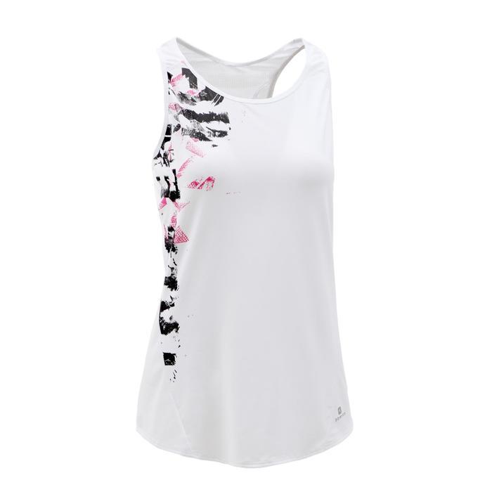 120 女性有氧健身運動背心 - 白色印花