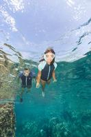 Tuba de plongée en apnée FRD100 turquoise pour enfants