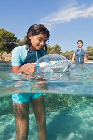 Bouée d'observation de plongée avec tuba enfant SNK Olu 100 fish bleu orange