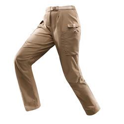 女款沙漠健行長褲DESERT 500-棕色
