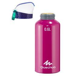 Trinkflasche 900 Wandern Schnellverschluss Trinkhalm Aluminium 0,6 Liter violett