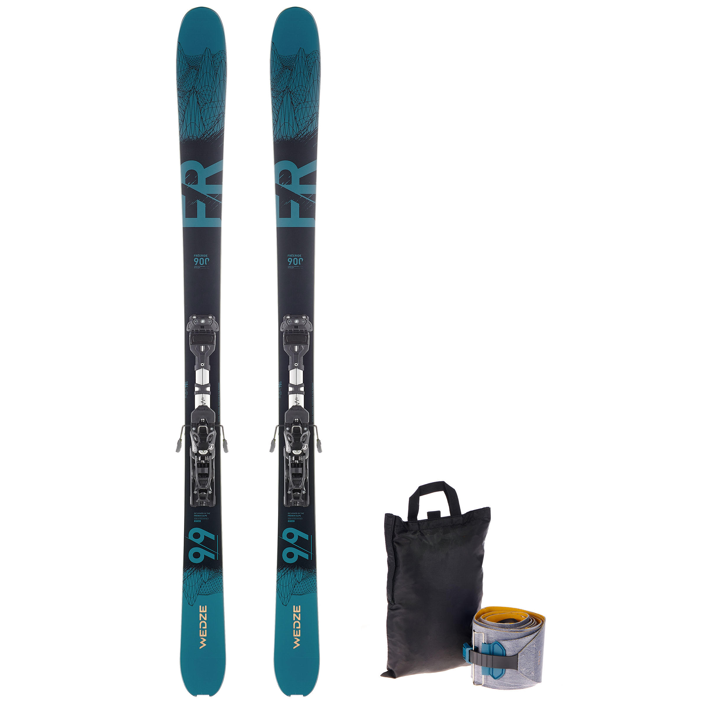 FR 900 Freeride Touring Skis - Petrol Black
