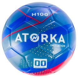 Balón de balonmano iniciación H100 azul y amarillo