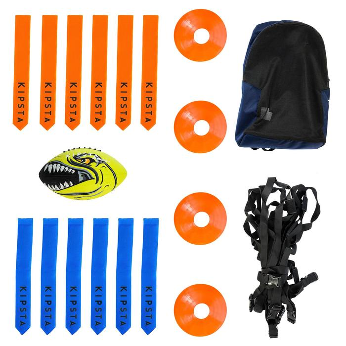 American football set AF100 blauw (bal, 4 pionnen, 12 flag belts)