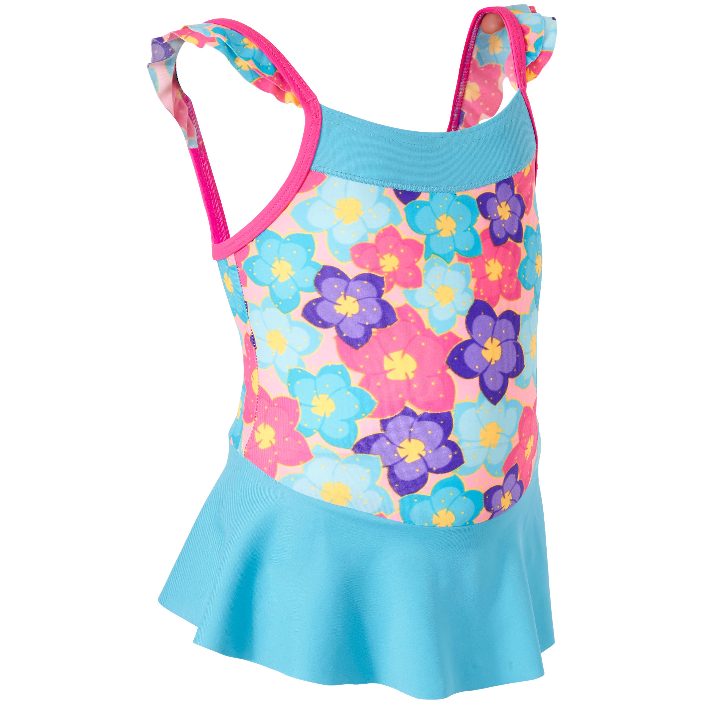 Baby girls' one-piece swimsuit with skirt flowers print