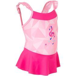 Peuterbadpakje voor meisjes roze met flamingo-opdruk en rokje