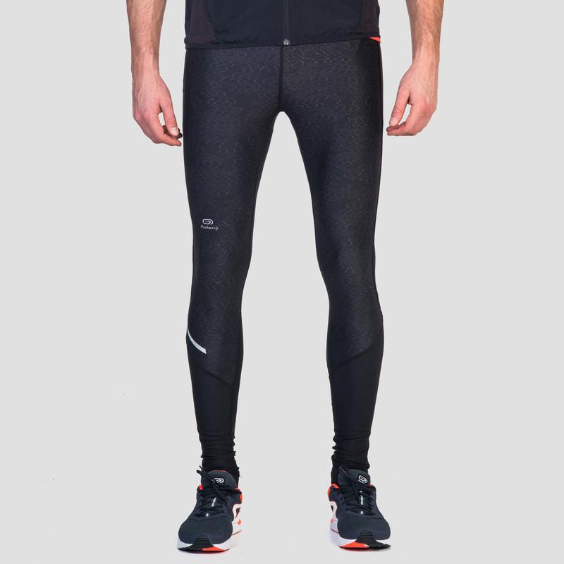 กางเกงผู้ชายทรงรัดรูปสำหรับใส่วิ่งรุ่น RUN DRY+ (สีดำ/พิมพ์ลาย)