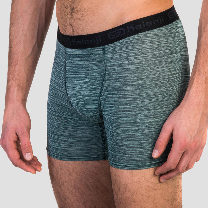 MEN'S BREATHABLE RUNNING BOXERS - MOTTLED GREEN