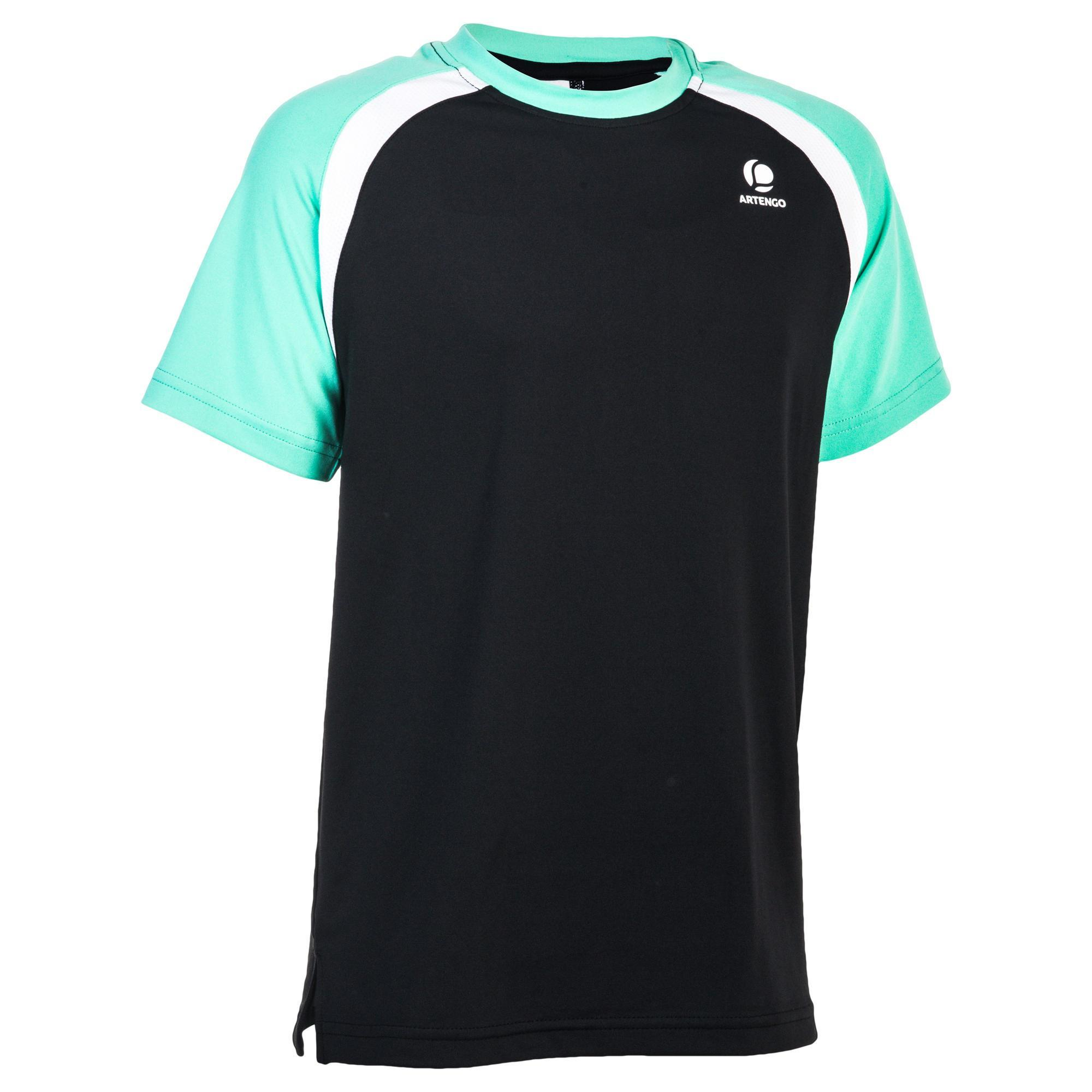 Artengo T-shirt 500 jongen zwart/groen