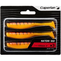Softbaits voor kunstaasvissen Natori 100 orange tiger 3 stuks