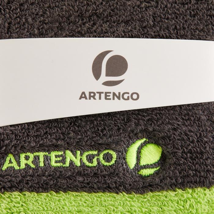 Brede absorberende polsband voor tennis, grijs/geel