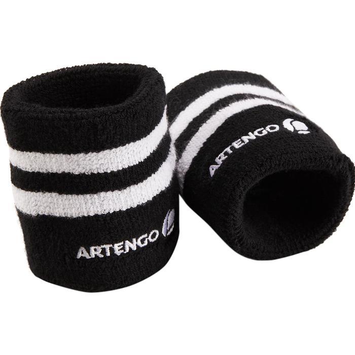 Absorberende polsband voor tennis, gestreept wit/zwart
