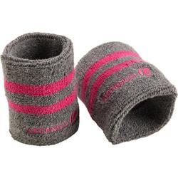 Polsband gestreept grijs roze