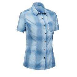 Arpenaz 500 女士短袖格子運動襯衫 - 藍色