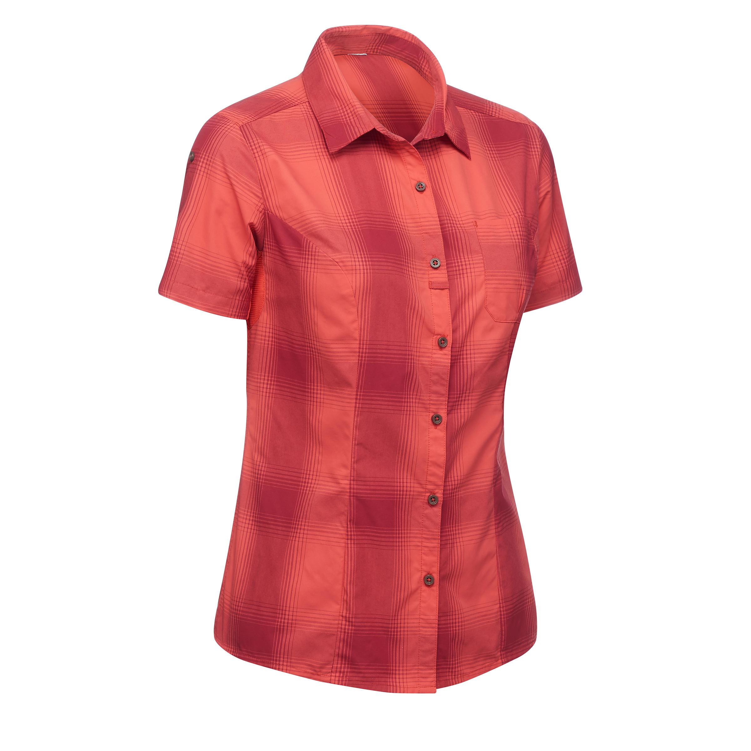 Chemises manches courtes VOYAGE 100 femme corail