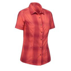 Blouse korte mouwen TRAVEL 100 dames koraalrood