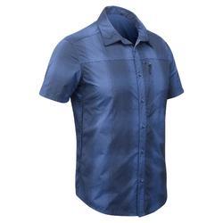 Travel 100清爽男款短袖襯衫 - 藍色格紋