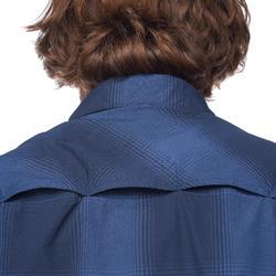 男款短袖襯衫TRAVEL 100 FRESH - 藍色格紋
