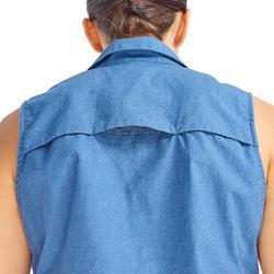Chemise manches longues trekking TRAVEL 500 modul femme bleu