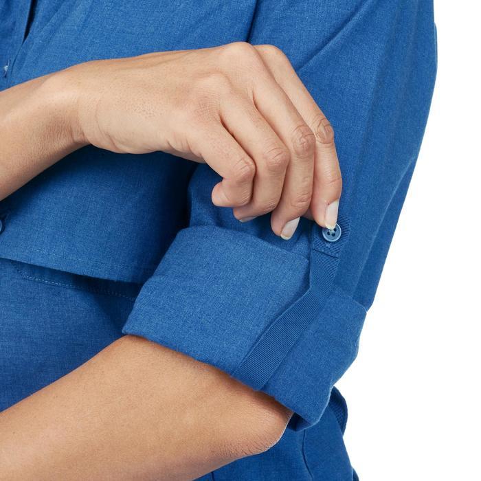 Trekkingblouse met lange mouwen voor dames Travel 500 omvormbaar blauw