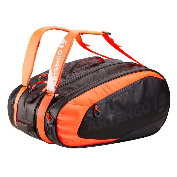 Sporttas voor racketsport Artengo SB 190 zwart en oranje