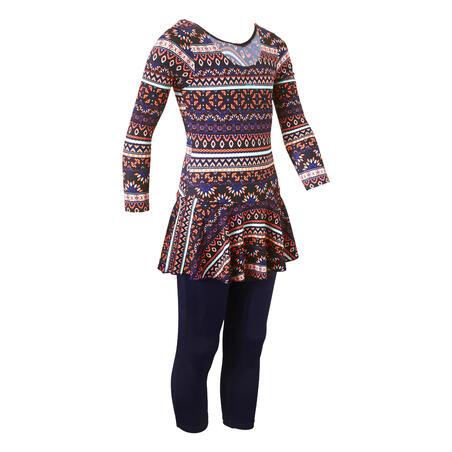 Girls' One-Piece Sleeve Leg Swimsuit Audrey - Plum Dark Blue