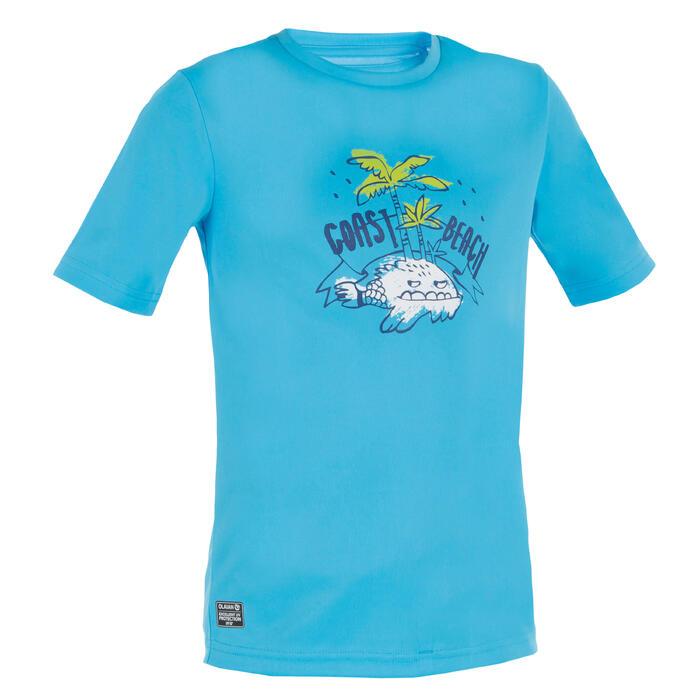 Children's short-sleeved UV-protection surfing water T-shirt - Blue print - 1331289