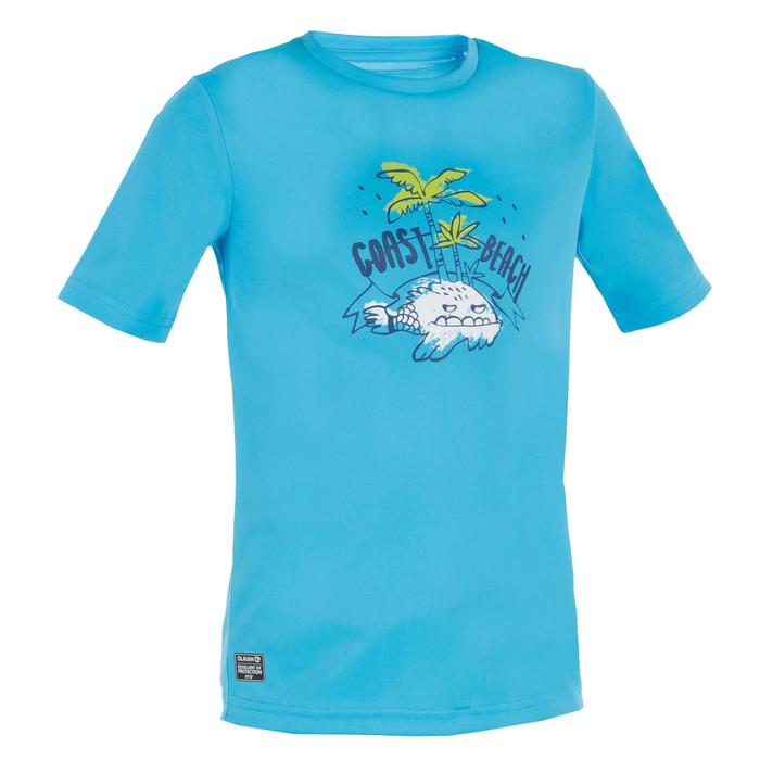 Kids' Short Sleeve UV-Protection Surfing Water T-Shirt - Blue Print