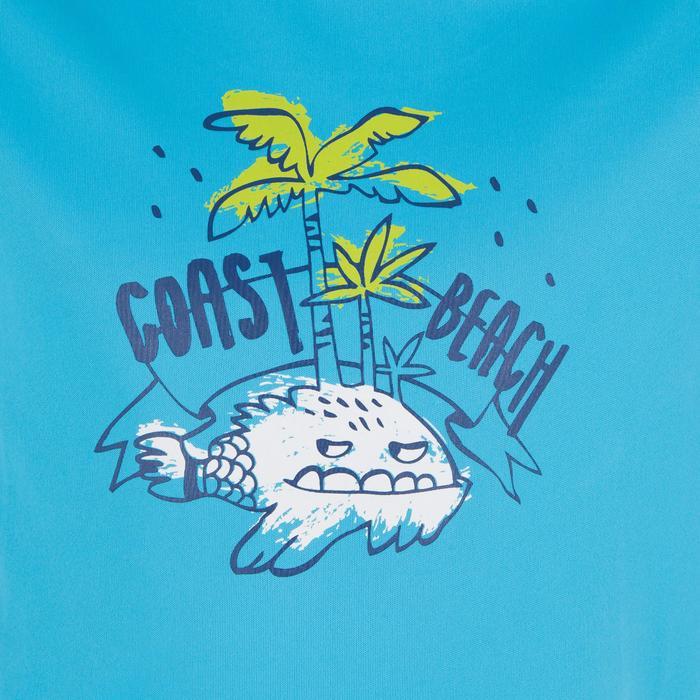 兒童款抗UV短袖衝浪T恤-藍色印花款