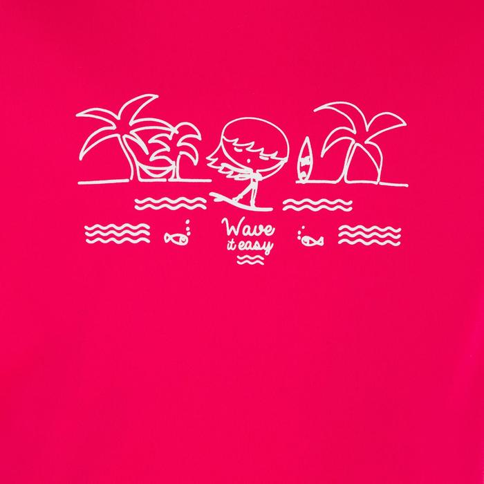 Children's Short Sleeve UV Protection Surfing Water T-Shirt - Pink print
