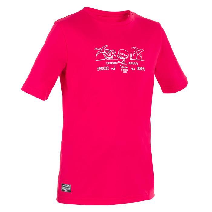 Children's short-sleeved UV-protection surfing water T-shirt - Blue print - 1331312