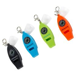 Multi-purpose whistle with built-in compass, thermometer and magnifying glass