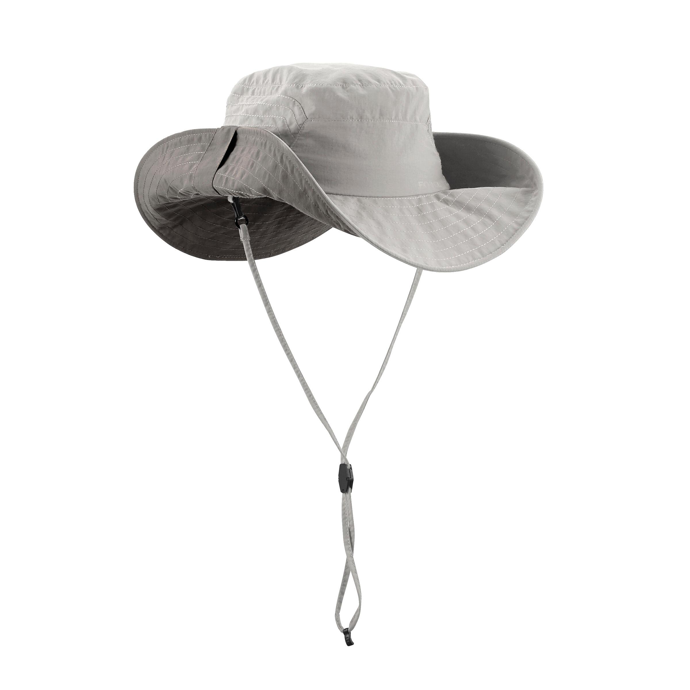 Chapeau randonnée 500 bord large anti UV homme beige