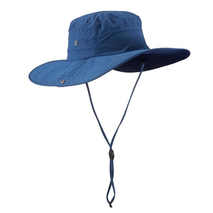 Uv-werende hoed voor bergtochten Trek 500 blauw