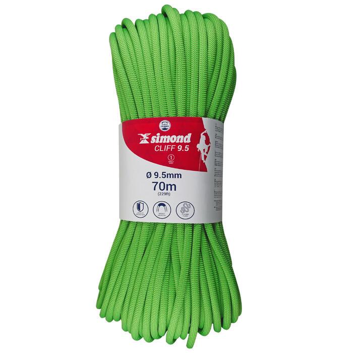 Corde d'escalade CLIFF 9,5mm x 70m Verte - 1331454