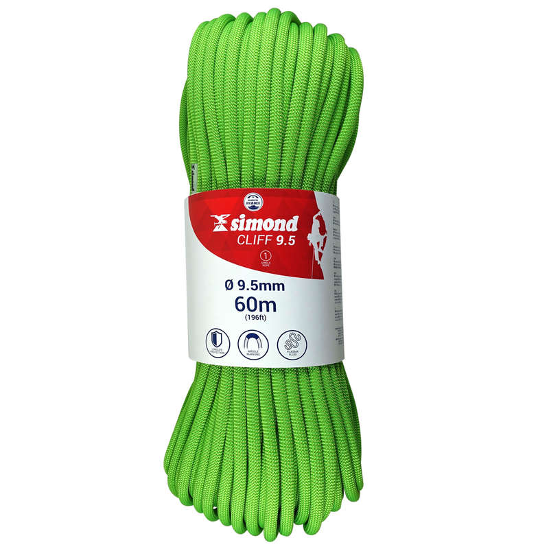 OUTDOOR SINGLE ROPES Climbing - 9.5mm x 60m CLIFF Green SIMOND - Climbing